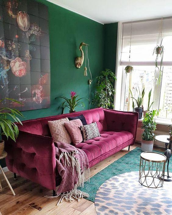 couleur pour salon mauve et vert