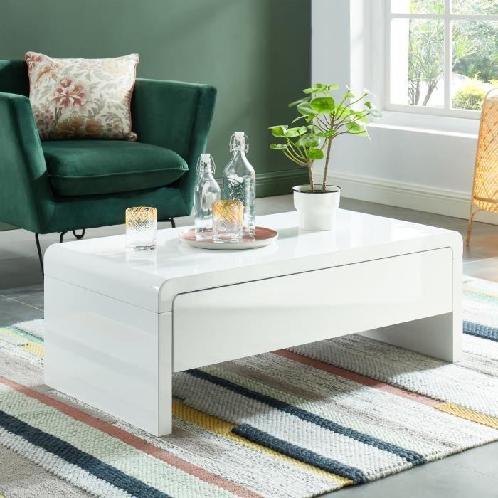 Table basse laqué blanc salon moderne